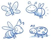 Baby Ilustration Vektor: Set of cute little cartoon insects: lady bug, bee, butterfly and firefly...