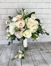 Erröten Hochzeitsstrauß, Brautstrauß, erröten Hochzeitsblumen, Boho Bouquet, Brautblumen, Eukalyptus Bouquet, Hochzeitszubehör, Seidenstrauß – Blumen Rosen