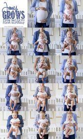 Monatliche Babyfotos vom Bauch bis zum ersten Geburtstag www.TheResplenden #fash …   – Favorites