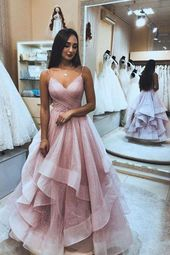 A Line Spaghetti Straps Pink V Neck Backless Prom Dresses, Long Evening Dresses …
