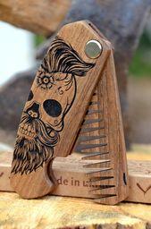 2-4 Tage nach USA Holzkamm Weihnachtsgeschenk für ihn Freund Mens Geschenk Haar Bart aus Holz graviert Sugar Skull Schnurrbart Bart Pinsel   – Bärte