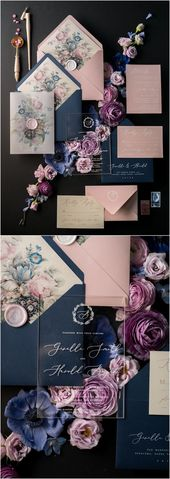 Marine und Rosa Vintage Hochzeitseinladungen 01 / ACGN / Z # Hochzeiten #navywedding #pink …