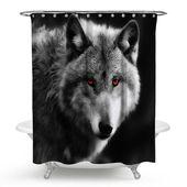 Kreative Duschvorhang 3D Wolf Stoffdruck wasserdicht und Anti-Schimmel   – Wohnzimmer