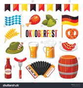 Oktoberfest german celebration flat vector illustrations set. Germany national b…