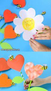 Paper Heart Flower Craft with Template – kreativ