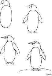 #penguin #easy Wie zeichnet man einen Pinguin in 6 einfachen Schritten | Weihnachten und Winter basteln …