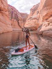 Antilopen-Schlitz-Schlucht u. Kajak Paddleboard, das See Powell Arizona wandert   – World Love