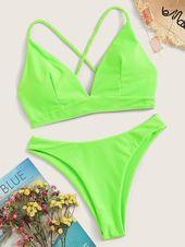 Neon Green Crisscross Tie Back Bikini Set
