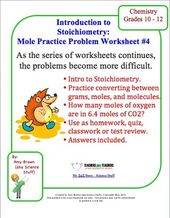 Practice Problem Worksheet For Stoichiometry And Moles  Mole