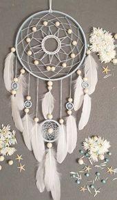 Boho dream catcher grande tenture décoration boho style art moderne talisman pour la maison blanc pépinière art mural avec cadeau de plumes pour elle