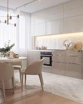 beige neutrale Küche Holz Plank Panel Decke Desig…