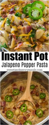 Instant Pot Jalapeño Popper Pasta is extra creamy and cheesy with a touch of sp…