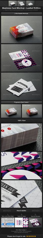 Business Card Mockup – Leather Edition for $8 – Envato Market #MockUp #psd #Prod…