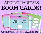 Adding Radicals  – Boom Cards – Works with GOOGLE CLASSROOM
