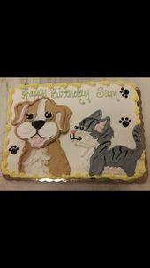 Katzen- und Hundetierblattkuchen – Geburtstagskuchen   – Cakes