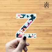 "Letter ""Z"" Tropical Vinyl Sticker, Best Friend Gift, Laptop Decals, Name Stickers, Monogram, Macbook"