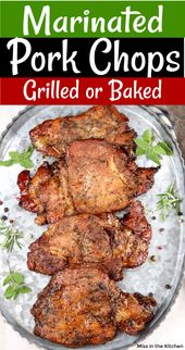 Easy Marinated Pork Chops that can be grilled or baked. Simple coffee marinade t…