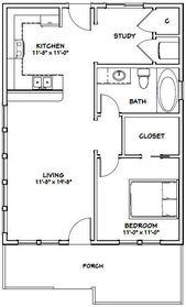Details about 24×32 House — 1 Bedroom 1 Bath — PDF Floor Plan — 768 sq ft — Model 1