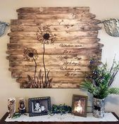 Dandelion wall art large square flower wood picture rustic reclaimed wood country