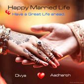 Happy Married Life Wishes wedding day wishes card