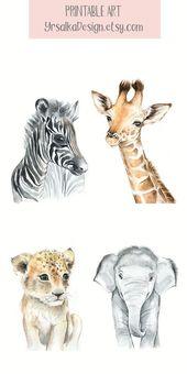 Baby Tier Kinderzimmer Wand Kunst Safari Animal Prints druckbare Aquarell Tier Kunstdrucke Malerei Elefant Zebra 4er-Set Drucke für Kinderzimmer