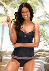 LASCANA tankini top women, black, size 40 D / E