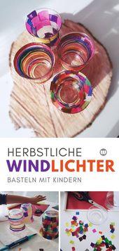 Bunte Windlichter selber machen aus alten Gläsern (Upcycling)