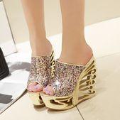 Fashion Hot Women 's Thick Bottom Of Fish Mouth und Rom Cold Slippers Fischmaul Schuhe mit hohen Absätzen | Wunsch