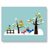 Búho Búhos Pájaros Invierno Nieve Cute Tree Cartoon Postal   – Preschool Crafts