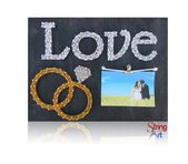 DIY String Art Kit – Picture Frame, Love String Art, Wedding Rings, Wedding Decor, Wedding Gift, Engagement Gift Ideas, w/ all supplies   – String Art