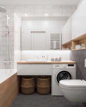 Modern bathroom interior. Mirror. Washing machine …