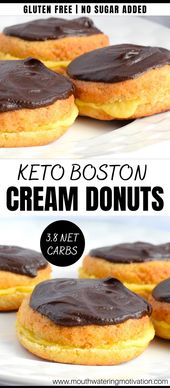 Slider style keto boston cream donuts filled with pastry cream and topped with a delicious chocolate glaze.