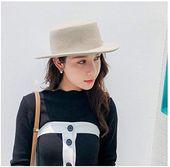 Enjoy exclusive for Hat&Cap, Women Fedora Flat Top White Wool Felt Hats Ladies Autumn Winter Vintage Trilby Hat online – Winter Womens Accessories