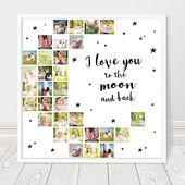 Foto Collage Print Ich liebe dich bis zum Mond druckbare   – basteln