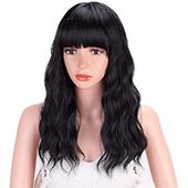 Amazon.com : Bob Curly Wig Synthetic Short Black Wig with Bangs Brown Wavy Natural Looking Shoulder Length with layers Fringe Daily Use Fiber Hair for...