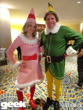 Jovie And Buddy The Elf Costumes Merry Christmas Diy Elf Costume Tree Costume Christmas Tree Costume
