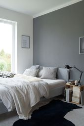Autumn bedroom in shades of gray