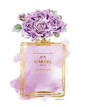 Lila, Parfüm drucken lila Rose Aquarell Gold-Effekt Gedruckt Blumen Mode Illustration Mode Poster Kunst druckbare Kunst Geschenk für