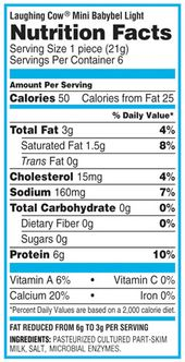 Nutritional Value Of Mini Babybel Light Cheese Centralroots Com