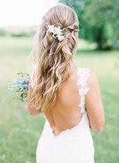 Bride Half Up Wedding Hairstyles, Half Up Down Hairstyles # halfup halfdown …