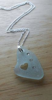 Sea Glass Necklace Beach Glass Jewelry BE MINE by SeaFindDesigns, $ 30.00 #be …