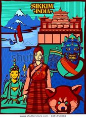 Tourist Places In Sikkim Drawing