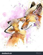 fox and baby. watercolor illustration. Motherhood …