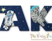 Sterne Jedi Space Wars gemalte Buchstaben, Navy Sterne Jedi gemalte Buchstaben, Sci-Fi gemalte Buchstaben, Sterne Jedi Space Nursery personalisierte Babynamen   – kids