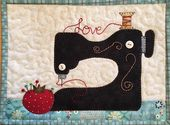 Sew in Love Stitching Machine Mug Rug PDF Sample from Quilt Doodle Designs