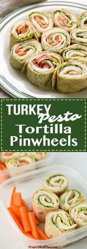 Turkey Pesto Tortilla Pinwheels