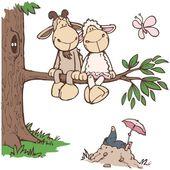 Illustration Enfant Wandtattoo »Jolly Elsa & Gustav«