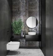 Dramatic dark powder room – #dark #dramatic #Powde…