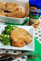 Juicy baked pork chops coated in ranch dressing Italian bread crumbs and Parmesa…