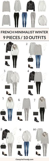 9 Pieces / 10 Outfits (French Minimalist Winter) (Classy Yet Trendy)